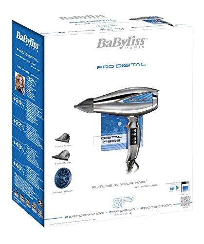 BaByliss Pro 6000E Secador de pelo profesional, motor digital, iónico, secado ultra rápido 208 km/h, temperatura constante 70º, incluye difusor y dos concentradores, 2300 W, Gris y plata