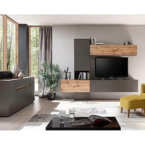 Lomadox Design Wohnwand mit Sideboard in matt anthrazit mit Wotan-Eiche