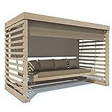Hollywoodschaukel Tiffany Holz Gartenschaukel Schaukelbank Gartenmöbel 4-Sitzer (Auflage in beige)