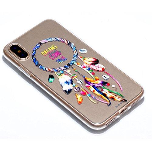 iPhone X Custodia,Fiore Patate Modello di sollievo in vernice Custodia in TPU Gel Ultra sottile [Trasparente] Custodia protettiva in gomma flessibile case cover para for iPhone X colour *2