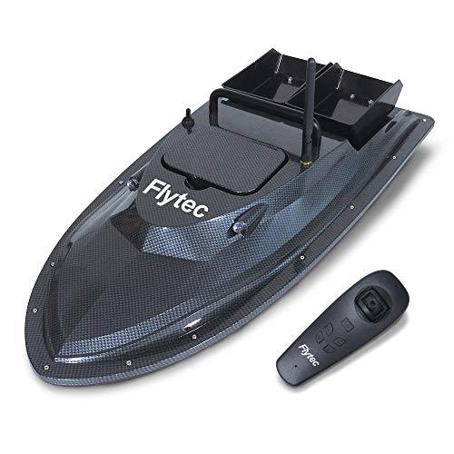 Momola RC Boot Ferngesteuertes Boot,Fischfinder Fischköder Boot 1.5kg Beladung 500m Fernbedienung mit 4.8km/h High Speed Doppelmotoren RC Boot für Erwachsene & Kinder, Geschenk (Schwarz) -