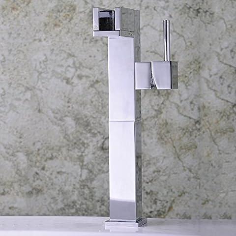 Hanmei Elegante e Durevole in rame e acciaio inox rettangolare singolo hole-single, mixercopper lavabo rubinetto