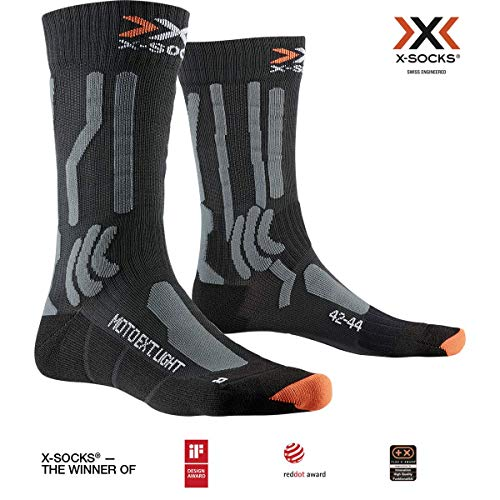 X-Socks Moto Extreme Light Socks, Opal Black/Dolomite Grey Melange, 39-41 -