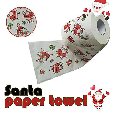 (Yalatan Frohe Weihnachten Toilettenpapier Toilettenpapier Großhandel Santa Claus Print Party Tischdekoration 1 Paket)
