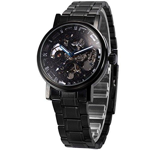 XLORDX mechanische Automatikuhr Skelett Automatik Armbanduhr Uhr Edelstahl schwarz schwarz