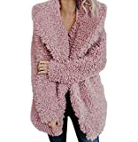 Tomatoa Jacke Cardigan Langarmshirt Wintermantel Revers Faux Für Lose Langarm Outwear Winterjacke Mode Coat Casual Mantel Ste
