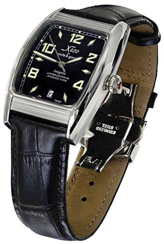 Xezo Incognito Herren Armbanduhr 10ATM wasserdicht Tonneau Automatische. Schweizer Saphir Kristall. Luxuriöse Finish. X-Large Armband AUS Leder