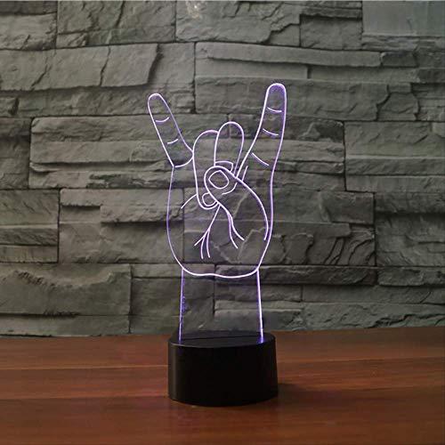 BDQZ LED Nachtlicht Bunte 3D Metall Rock And Roll Gesten Atmosphäre Schreibtischlampe Hiphop Liebhaber Weihnachtsgeschenke Schlafzimmer Schlaf Licht Dekor