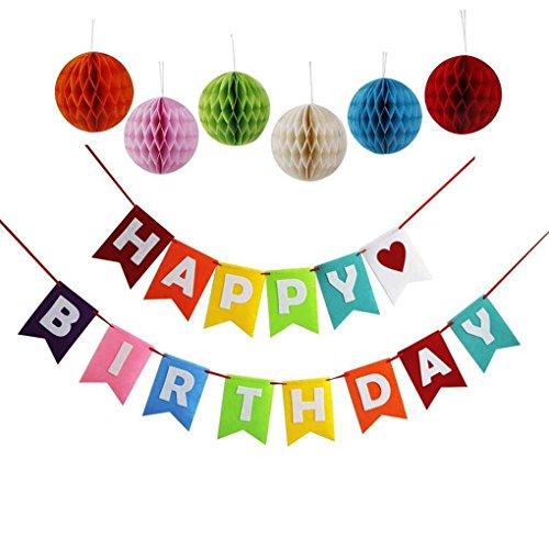 Sunlera Geburtstags-Flagge Banner Party-Baby-Dusche 1. Geburtstags-Dekor Tissue Honeycomb-Kugel