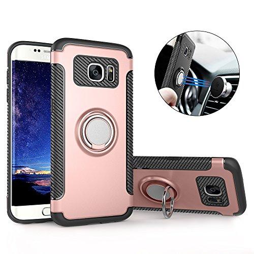 Hülle für Samsung S7 Edge , Galaxy S7 Edge Handyhülle mit Ring Kickstand - Mosoris Premium Silikon Shell mit 360 Grad Drehbarer Ständer und Handyhalterung Auto Magnet Ring , Dual Layer Stoßfest Rüstung Schutzhülle Bumper Tasche Case Cover für Samsung Galaxy S7 Edge , Rosé gold