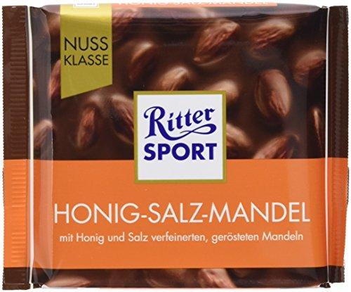 RITTER SPORT Honig-Salz-Mandel (11 x 100 g), ganze Mandeln in Vollmilchschokolade, verfeinert mit Honig und Salz, einzigartig im Geschmack (Und Salz Honig)