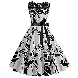 Moonuy_ Women's Vintage Sleeveless Lace Panel Printed Dress Women 1950S Retro Splice Printing Party Prom Swing Elegant Temperament Fashion Evening Round Neck Skirt(Black,M)