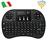 Rii Mini i8+ - Mini teclado inalámbrico (disposición de teclas italiana), retroiluminado, con panel táctil para smart TV, mini PC, HTPC, consola y ordenador. i8+ Wireless (NERO)