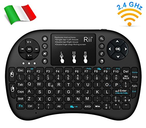 Rii Mini i8+ Wireless (Layout Italiano) - Mini Tastiera Retroilluminata con Mouse Touchpad per Smart TV, TV Box, Mini PC, Playstation, Xbox, Computer