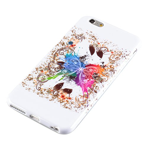 "deinPhone Apple iPhone 6 Plus (5.5"") SILIKON CASE Hülle Kleine Eulen Bunte Blumen Gelb Schmetterling Gold"