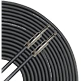 GLS Audio 100 Feet Speaker Cable 16AWG Patch Cords - 100 ft 1/4 Inch to 1/4 Inch Professional Speaker Cables 100 Foot Black 16 Gauge Wire - Pro 100' Phono 6.3mm Cord 16G - SINGLE