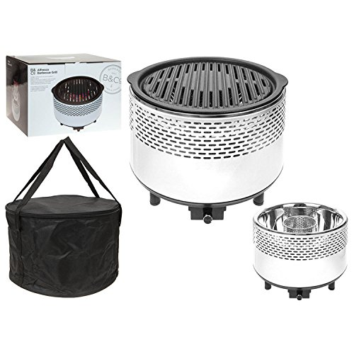 B&CO Alfresco Smokeless Grill Outdoor Charcoal BBQ - Portable Cooking White - (Alfresco Grill)