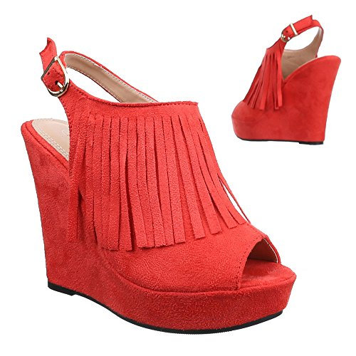 Ital-Design Keilsandaletten Damenschuhe Keilsandaletten Keilabsatz/Wedge Keilabsatz Schnalle Sandalen & Sandaletten Rot
