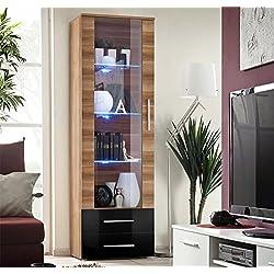 Muebles Bonitos - Vitrina Albes cuerpo color madera ciruelo y frontal negro