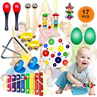 DIY House Musical Percussion Instrument Set Baby Music Band Education Percussion Toys for Toddlers Kids Preschool Children with Kids Zipper Handbag
