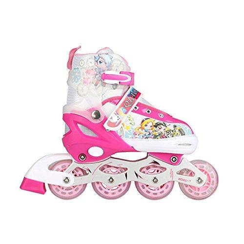 ZHAGOO Inlineskates - Einstellbare Skates Für Kinder Jungen Und Mädchen Leuchträder Hochwertige Atmungsaktive Mesh-Skates Doppelte Sicherheitsschlösser,Pink,S
