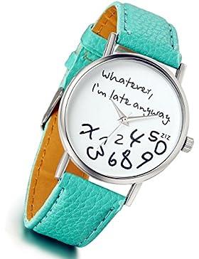 Lancardo Damen Leder Armbanduhr, Analog Quarz Lederband Uhr für Weibliche Studenten, helles grün