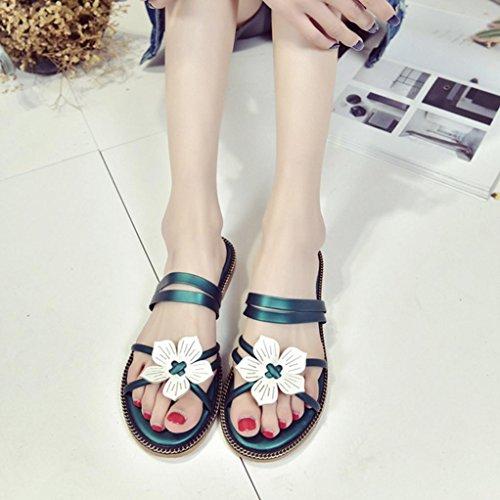DM&Y 2017 Molla e testa di pesce femmina moda estiva sandali flat scarpe due indossare sandali da donna casuali Green