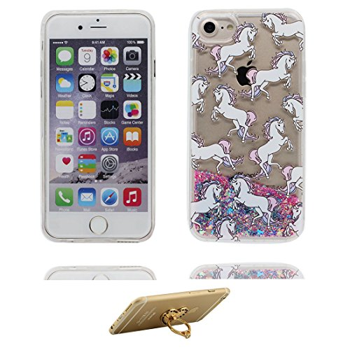 "iPhone 6 Plus Coque, Bling Glitter iPhone 6s Plus étui Cover (5.5""), Fluide Liquide Sparkles Sables-(Fille noire Umbrella), iPhone 6 Plus Case (5.5""), Shell anti- chocs et ring Support # 6"