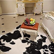 Lanskaya negro imitación de cuero de vaca creativa forma natural alfombra piel de vacuno alfombra para salón decoración