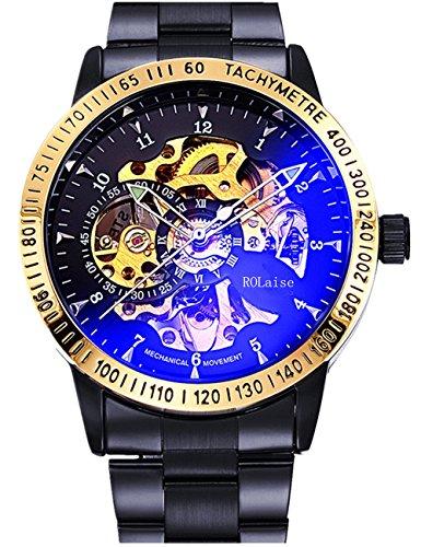 Mechanische Automatik Armbanduhr Skelett Automatikuhr Uhr Schwarz Gold Edelstahl