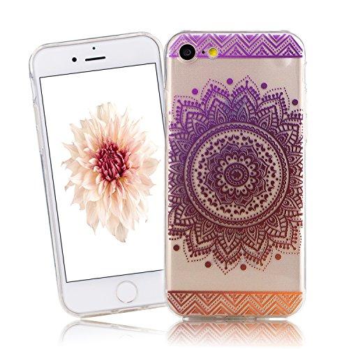Cover iPhone 7, CaseLover iPhone 7 4.7 Pollici Cover Custodia Trasparente Rigida Flexible TPU Gel Silicone Ultra Sottile non è Facile Sbiadito Prevenire Graffi Disegno Bella Modello per Apple iPhone 7 Viola Arancione