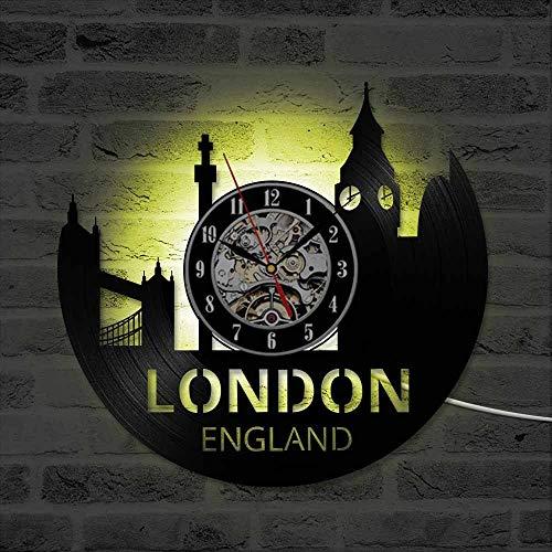 YUN Clock@ London City Wanduhr Vinyl Schallplattenuhr Vintage Familien Zimmer Dekoration 3D Kreative Persönlichkeit 16-Tasten-LED Design-Uhr Wand-Deko Schwarz/Durchmesser 30Cm