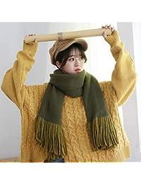 IBUP Unisexe Au Japon Et en Corée du Sud Doux Automne Chaud Et Hiver Écharpe  Gland Femme Chaîne à Tricoter Double Face Longue… 46f6a9b196f