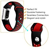 KIMILAR Fitbit Charge 3 Strap for Women Men, Two-tone Silicone Sports Band Soft Adjustable Wristband Bracelet for Fitbit Charge 3 Fitness Tracker, Black & Red, S
