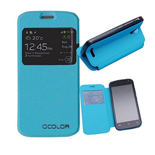 Guran® PU Leder Tasche Etui für DOOGEE X3 Smartphone Flip Cover Stand Hülle Case-blau