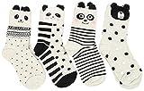 FLYCHEN Baumwolle Socken mit Cartoon Muster Damensocken 3 Sets 4 Paare Gr.36-40 Stil 3