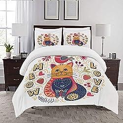 REIOIYE Edredón- Ropa de Cama,Ilustración de Gato de Arte Popular,Microfibra,edredón 1 edredón 200×200CM y 2 Fundas de Almohada 50×80CM