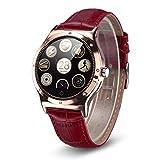 Rwatch R11S - Smartwatch Reloj Inteligente (Correa Adjustable, Pantalla Cristal, Bluetooth, Ritmo Cardiaco, Podómetro, Sincronización con Android IOS), Rojo