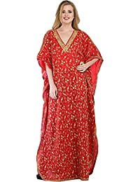 Exotic India True-Red Kashmiri Kaftan With Ari Hand-Embroidered Paisleys - Red