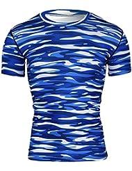 Wenyujh Homme T-Shirt Compression Sport Rayure Camouflage Elastique Séchage Rapide Manche Courte Cycliste Fitness Entraînement