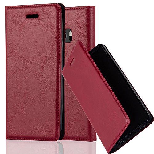 Cadorabo Hülle für HTC 10 (One M10) - Hülle in Apfel ROT – Handyhülle mit Magnetverschluss, Standfunktion und Kartenfach - Case Cover Schutzhülle Etui Tasche Book Klapp Style