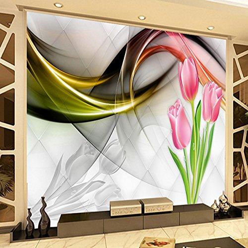 Ai Ya-bihua Nach 3D Foto Tapete Wand Malerei Tulip Blumen Abstrakte Rauch Nebel Kunst Wandbild Wohnzimmer Sofa TV Hintergrund Tapete Moderne