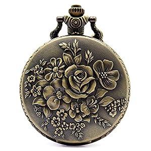 Charm Flower Taschenuhr, klassische Bronze Quarz Taschenuhr Kette, Geschenk für Männer