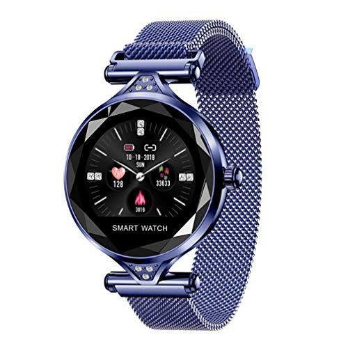 KING Watch Geschenk H1 Frauen Blutdruck Sport Smart Armband Uhr Schrittzähler Frauen Neue Fitness Tracker Smartwatch Kompatibel mit Samsung Galaxy S8 iPhone 7/8,Blue -