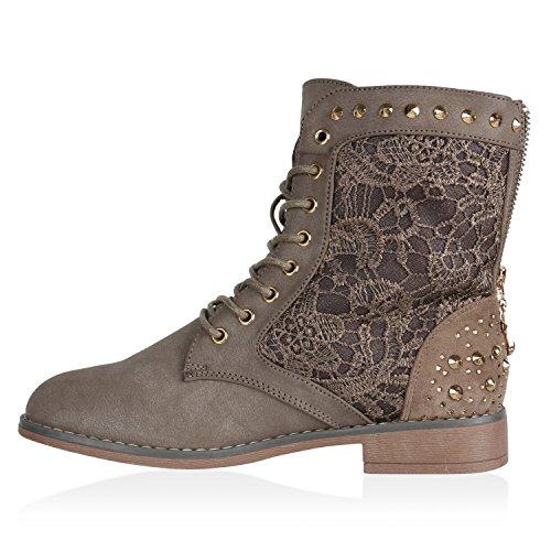 Damen Schnürstiefeletten Stiefeletten Worker Boots Spitzenstoff Schuhe Karneval Fasching Kostüm Cowgirl Piratin Prinzessin Flandell Khaki Autol