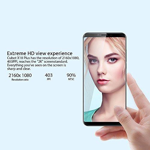 Cubot X18 Plus -Smartphone 5.99 pulgadas 18: 9 FHD + 2160 * 1080 píxeles Capactive Screen Android 8.0 MTK6750T Octa core 4GB + 64GB 16.0MP (interpolado a 20.0MP) + 2.0MP Cámaras traseras duales 8.0MP (interpolado a 13.0MP) Front Camera 4000mAh batería Dual SIM Fingerprint 4G teléfono -Azul