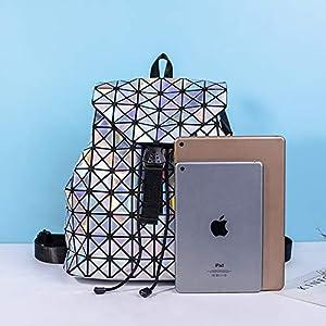 Geometrische Rucksack Laser Rucksäcke Damen Mode Daypacks Schultertasche Travel College Rucksack Reise Schule Rucksack Laser Silber