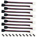 Liwinting 10 Stück RGB LED Strip Verbinder 4 Polig 10mm LED Lichtstreifen Schnellverbinder für SMD 5050 RGB LED-Streifen Licht, 16,5cm Lange LED RGB Stripe Verbinder Verteiler Adapter Verbindungskabel