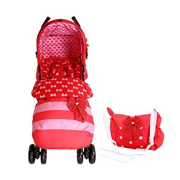 Zeta Vooom Stroller Complete with Foot Muff/Raincover/Changing Bag and Head Hugger Bow Dots Design ZETA Suitable From Birth Unique drop down privacy hood with parent window Complete with raincover and matching footmuff 2