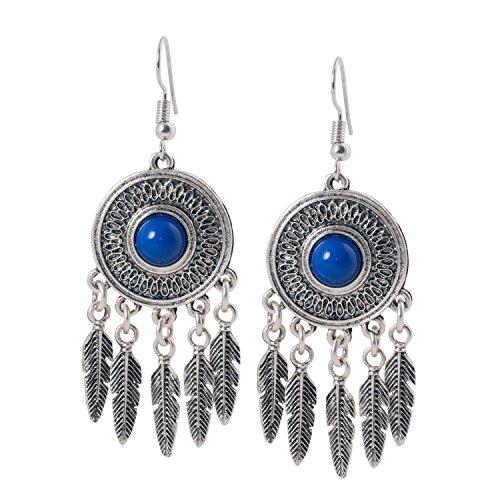 Geralin Gioielli Damen Ohrringe Traumfänger Blau Silber Indianer Ohrhänger ()